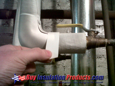 White Vinyl PVC Tape can be used to seal the PVC Fitting Cover to the ASJ jacketing of the Fiberglass Pipe Insulation.